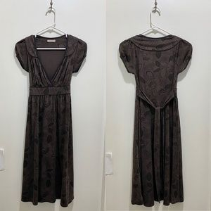 XX1 Floral Deep V Empire Midi Dress Ties Brown S